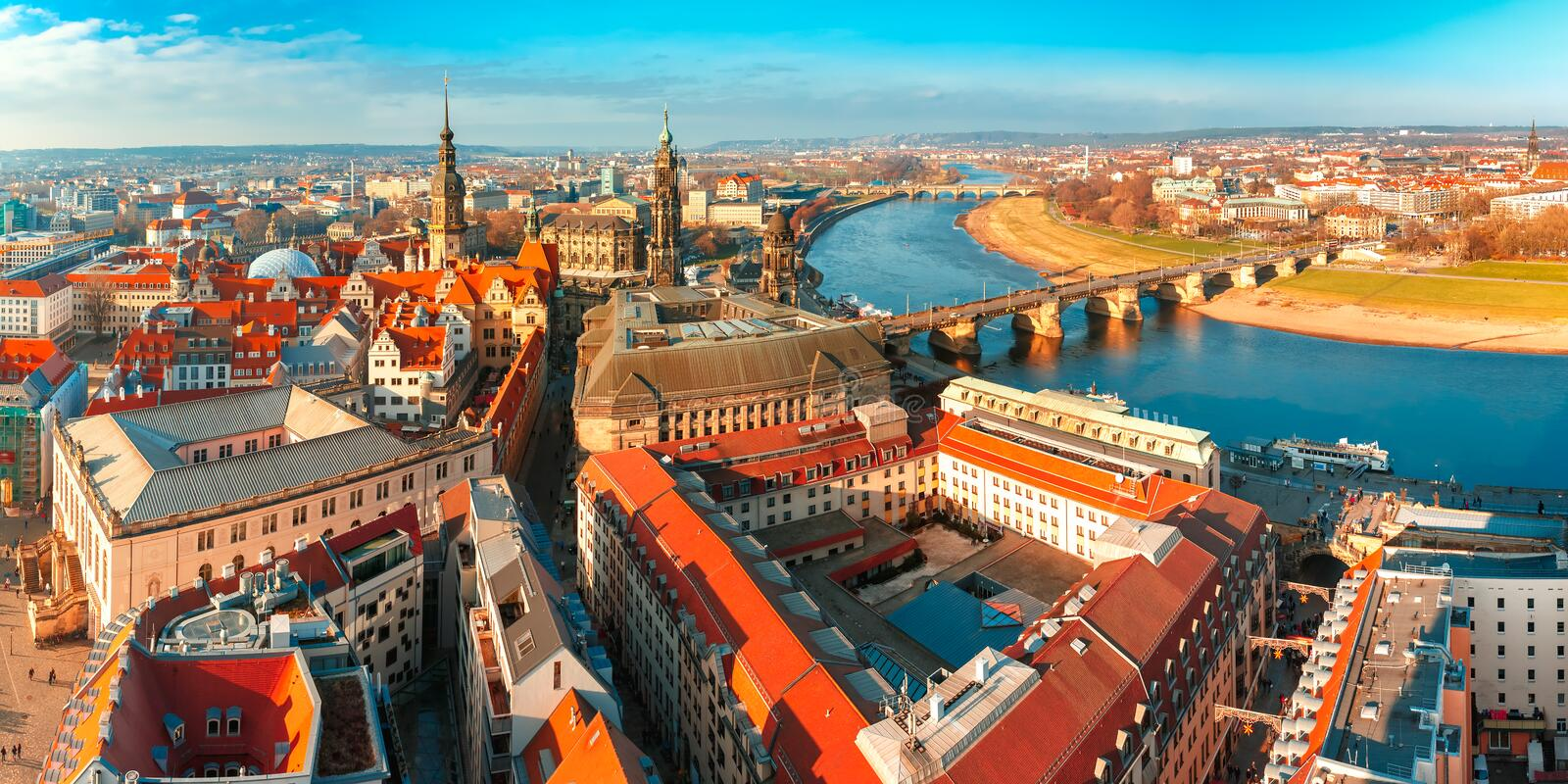 Panorama of Old town and Elbe, Dresden, Germany royalty free stock photos