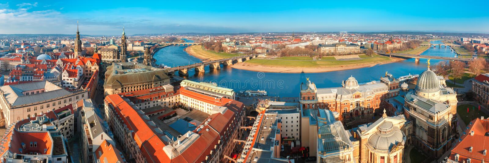 Panorama of Old town and Elbe, Dresden, Germany stock image