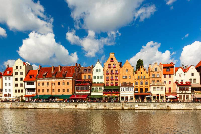 Panorama of Old Town and Motlawa in Gdansk, Poland royalty free stock photos
