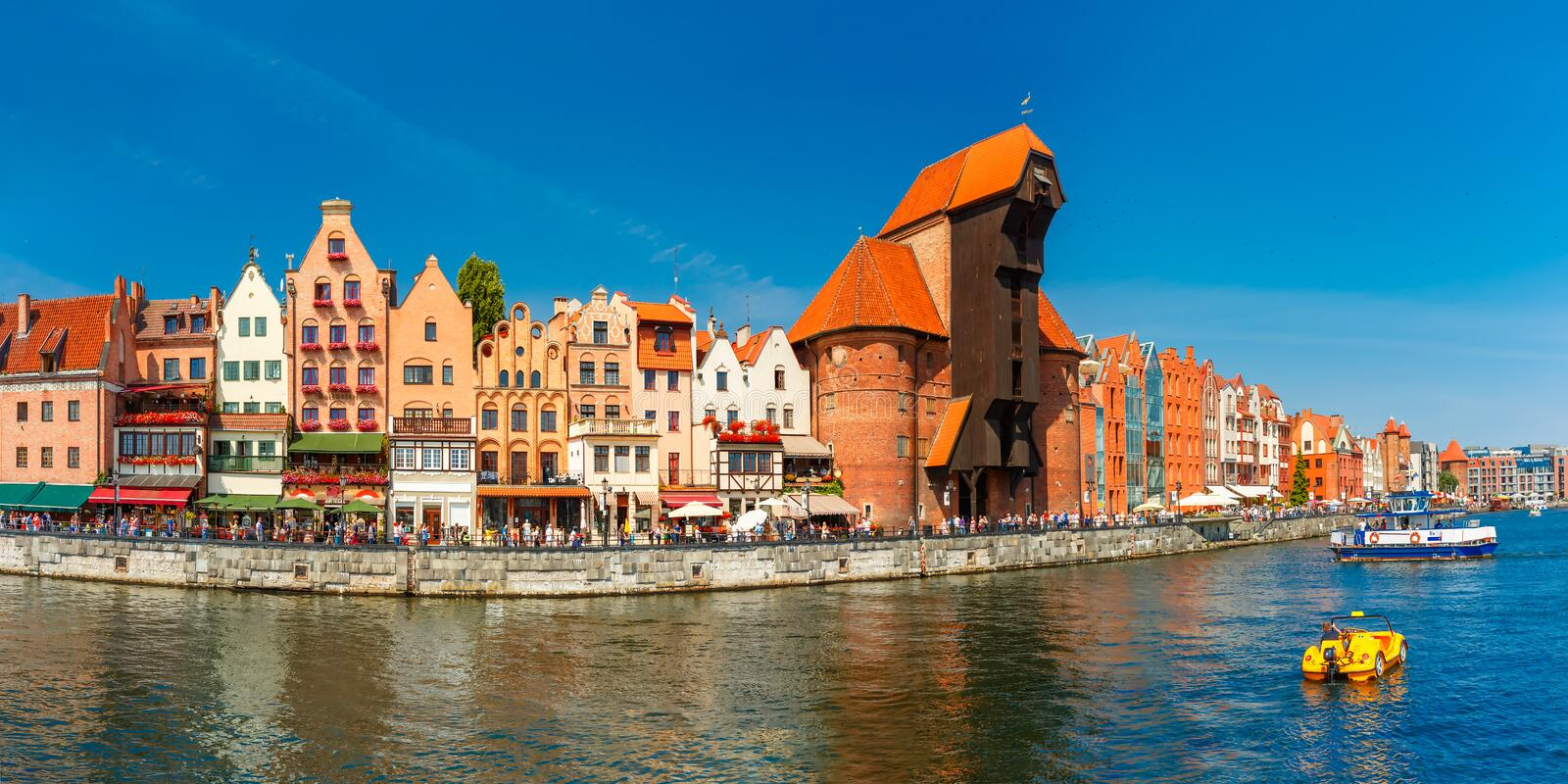 Panorama of Old Town and Motlawa in Gdansk, Poland stock images