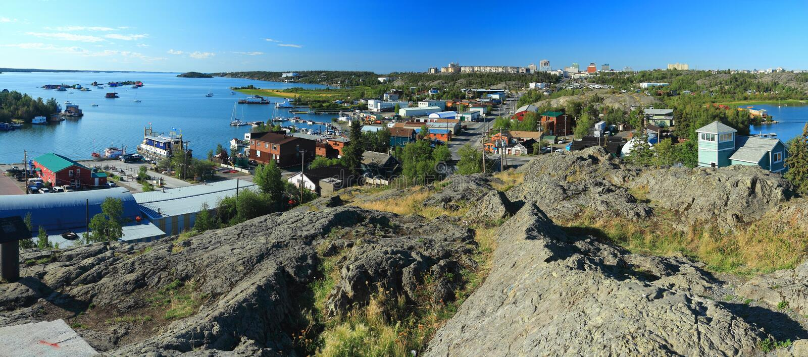 Panorama of Old Town and North Arm of Great Slave Lake from Bushpilot Monument, Yellowknife, Northwest Territories, Canada. The Bush Pilots Monument was erected royalty free stock photos