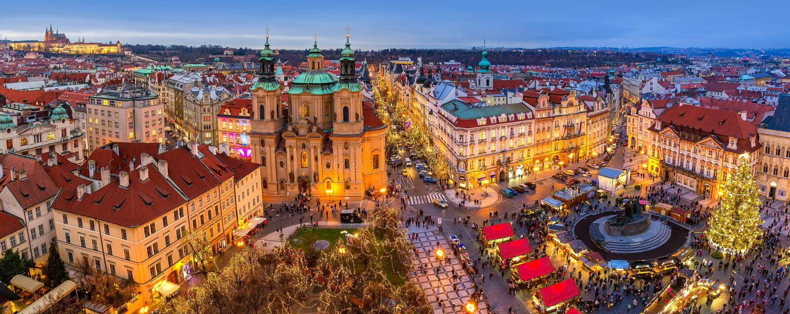 Panorama of Old Town of Prague at Christmas time. PRAGUE, CZECH REPUBLIC - DECEMBER 10, 2015: Panoramic view from above of city skyline, illuminated buildings