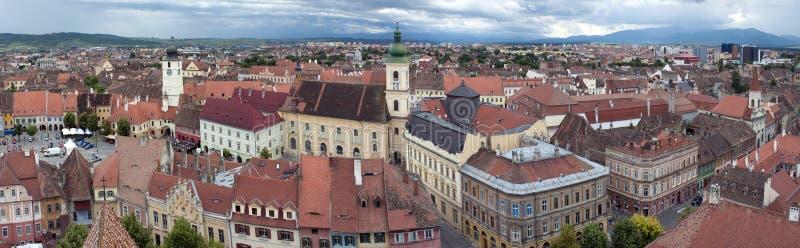 Panorama of old town Sibiu in Transylvania Romania royalty free stock photography