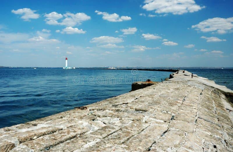 Panorama of old Vorontsov Lighthouse in Odessa bay, Ukraine stock image