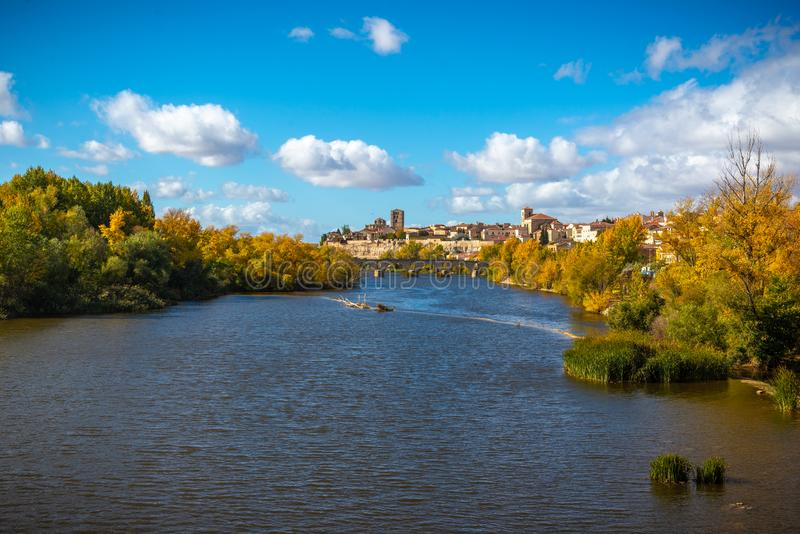 Panorama of the old woman and monumental of Zamora, Spain. Panorama of the river Duero and Zamora, Spain stock images