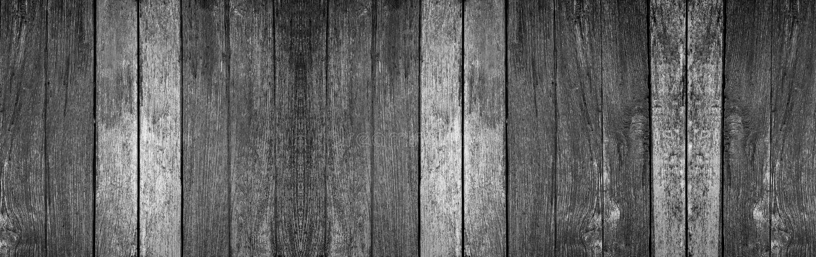Panorama old wood wall with beautiful vintage black and white wooden texture background. For design royalty free stock photos