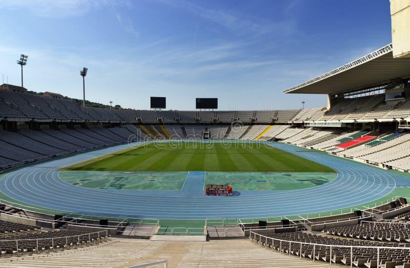 Olympic Stadium i Barcelona arkivbilder