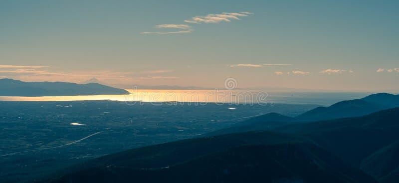 Panorama onirico delle flatlandie della Grecia, vicino a Kavala immagini stock libere da diritti