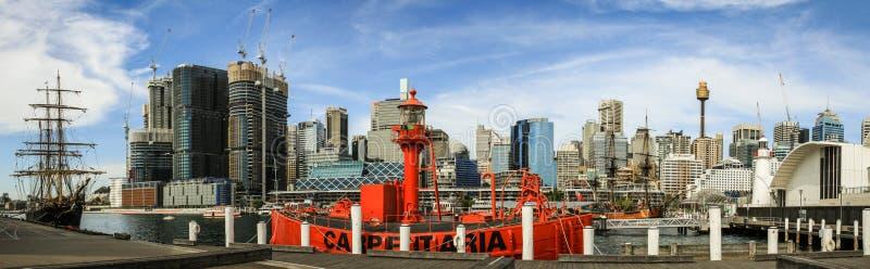 Panorama op de havenhaven Jackson Sydney, Nieuw Zuid-Wales, Australië van Sydney royalty-vrije stock afbeeldingen