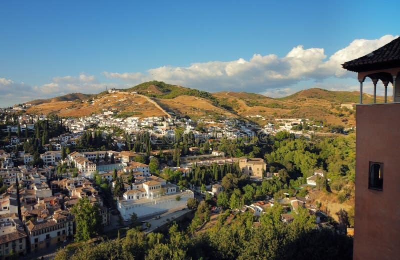 Panorama op de stad Granada stock fotografie