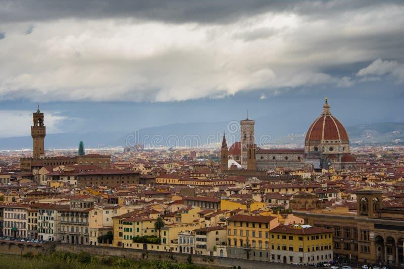 Panorama op Florence van Piazzale Michelangelo royalty-vrije stock foto