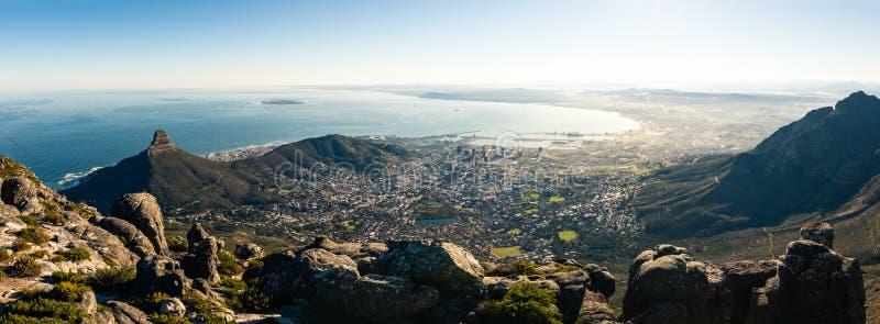 Panorama op Kaapstad stock afbeelding