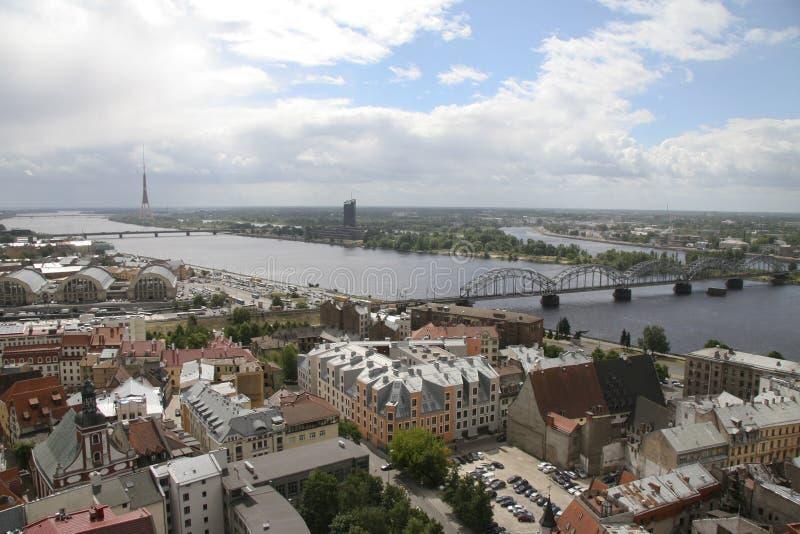 Panorama op Riga, Hoofdstad van Letland royalty-vrije stock afbeelding