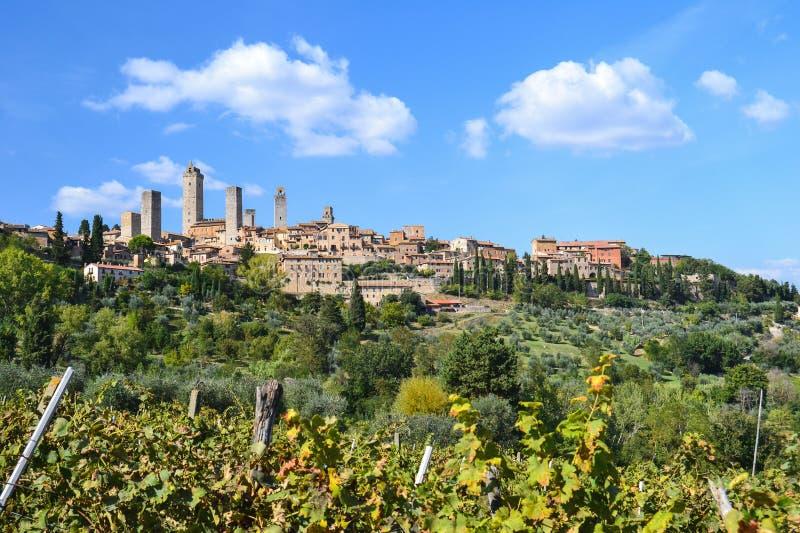 Panorama op San Gimignano, Toscanië, Italië royalty-vrije stock foto