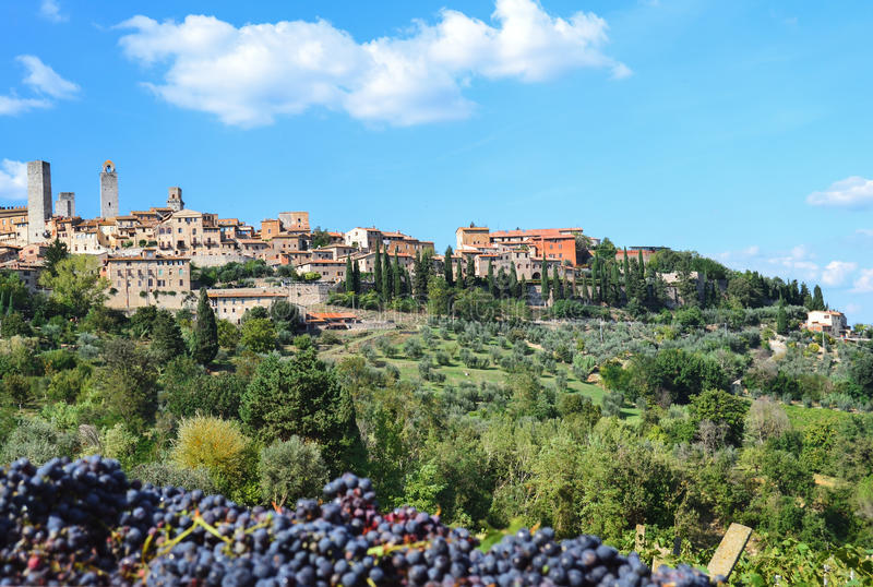 Panorama op San Gimignano, Toscanië, Italië stock afbeelding