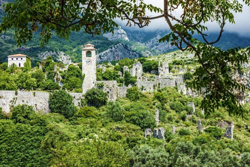 Panorama op stadsbar, Montenegro stock foto
