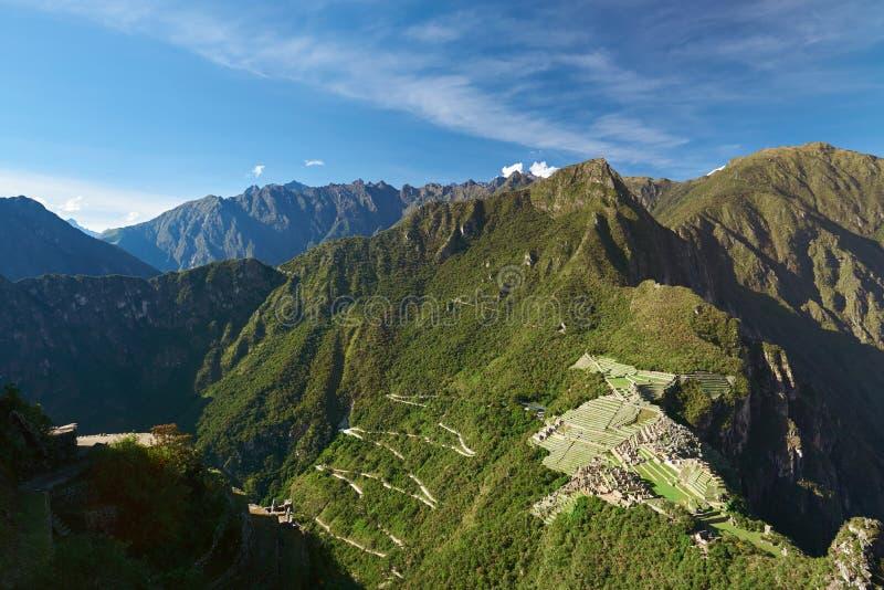 Panorama op verloren Machu Picchu royalty-vrije stock foto's