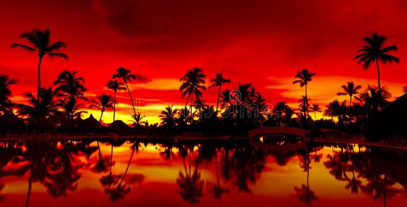 Panorama Orange and red sunset over sea beach