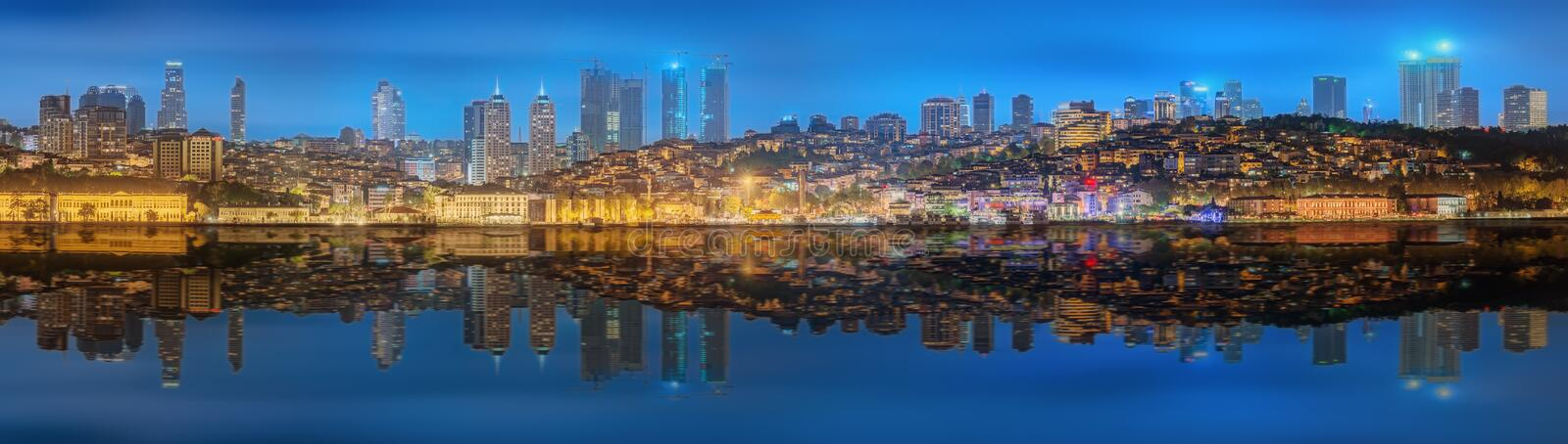 Panorama os Istanbul and Bosporus at night. Turkey royalty free stock photography