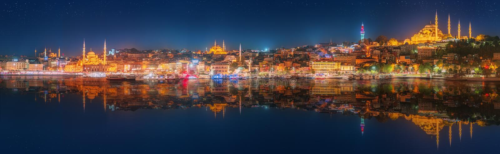 Panorama os Istanbul and Bosporus at night. Turkey royalty free stock images