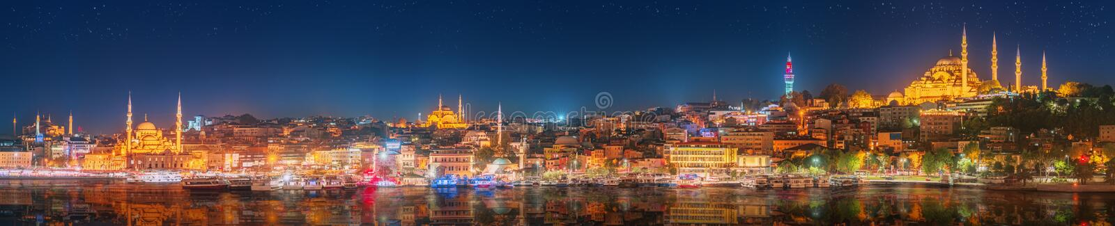 Panorama os Istanbul and Bosporus at night. Turkey royalty free stock photos