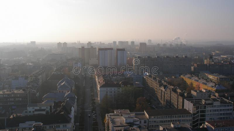 Panorama of Ostrava in Czechia. View on Ostrava in Czech Republic. Smog over the city. Poor air quality stock photo