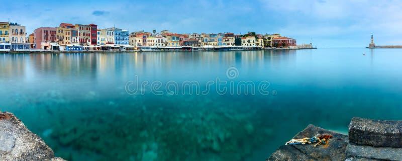 Panorama oude haven, Chania, Kreta, Griekenland royalty-vrije stock foto