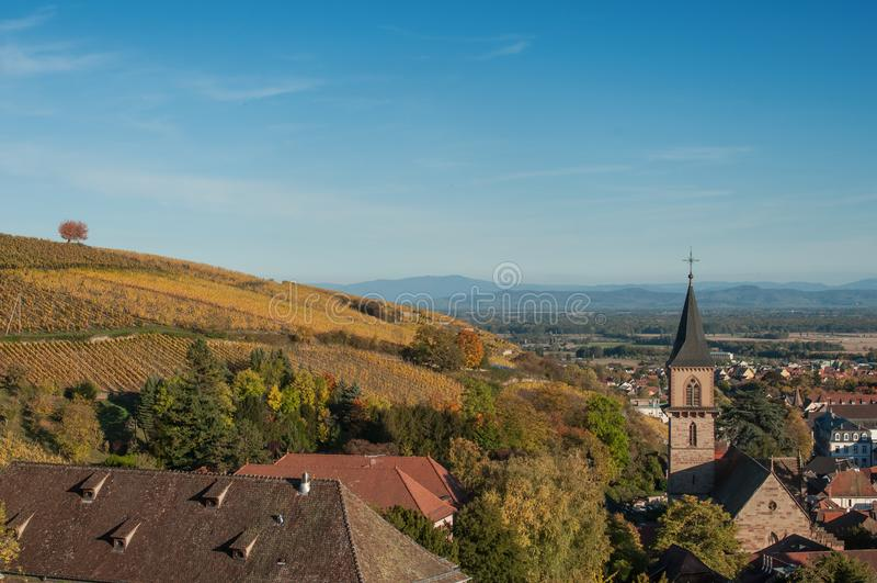 Panorama outonal de Ribauville fotografia de stock royalty free