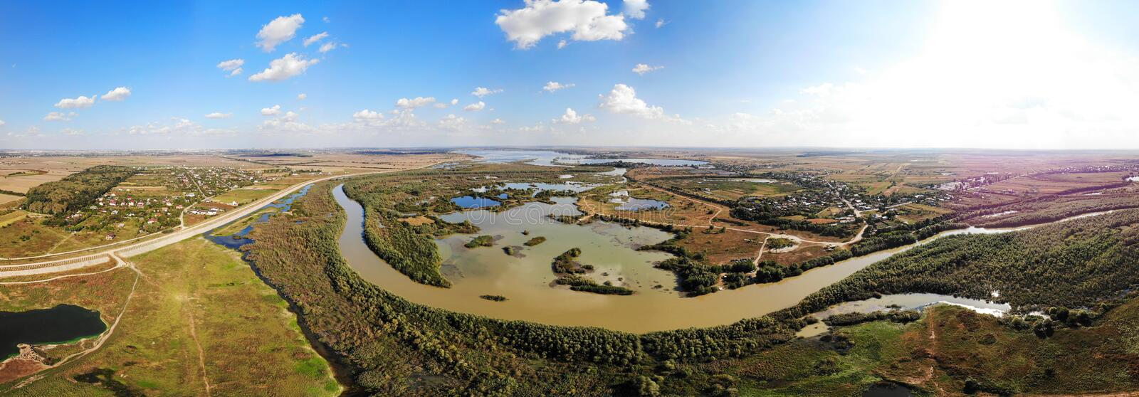 180 panorama over Arges County - Kayaking stock image