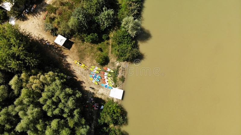 Panorama over Arges river - kayaking stock image