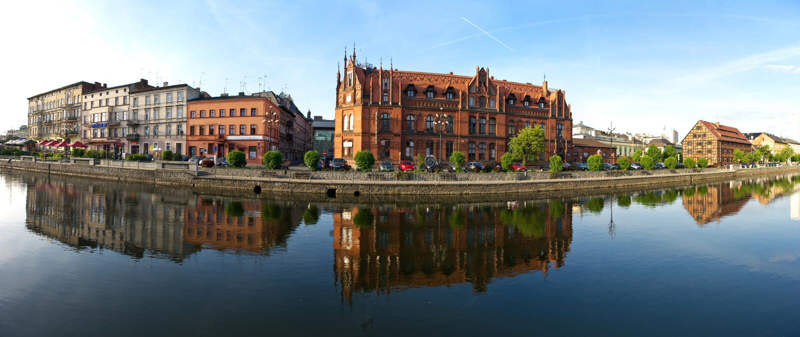 Panorama over Brda in Bydgoszcz stock afbeelding