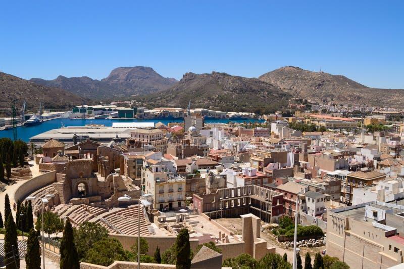 Panorama over Cartagena stock afbeelding