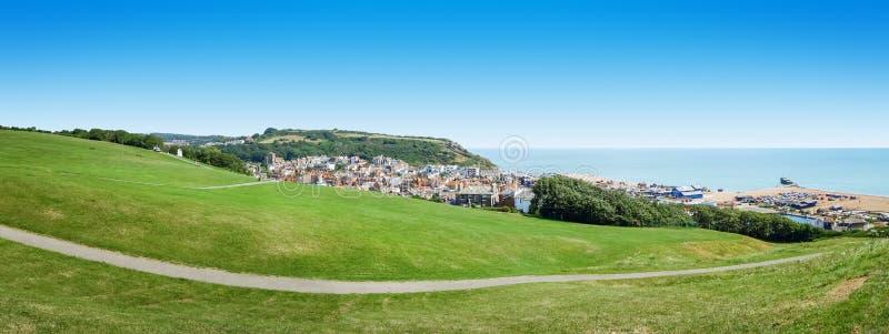 Panorama over Hastings het UK stock afbeelding