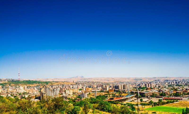 Panorama over Yerevan Stad, mening met majestueuze Ararat-berg, Armenië royalty-vrije stock afbeelding