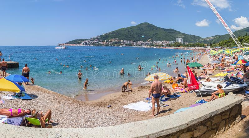 Panorama overlooking the long wide beach in the resort town of Budva royalty free stock images