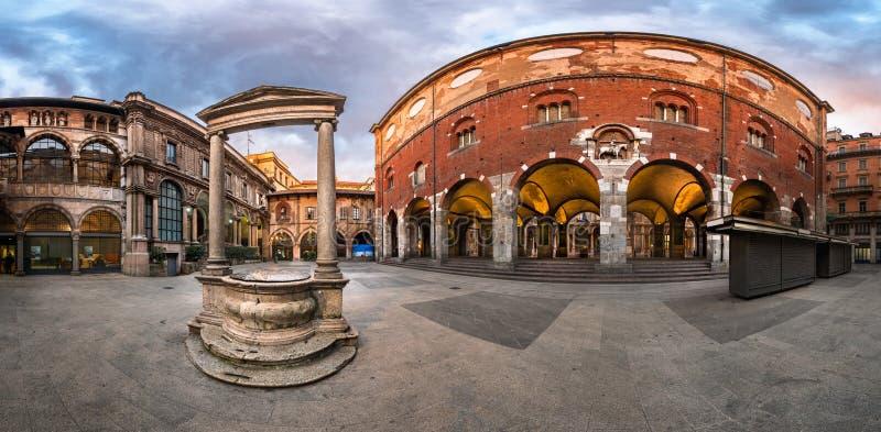 Panorama of Palazzo della Ragione and Piazza dei Mercanti. In the Morning, Milan, Italy stock photo
