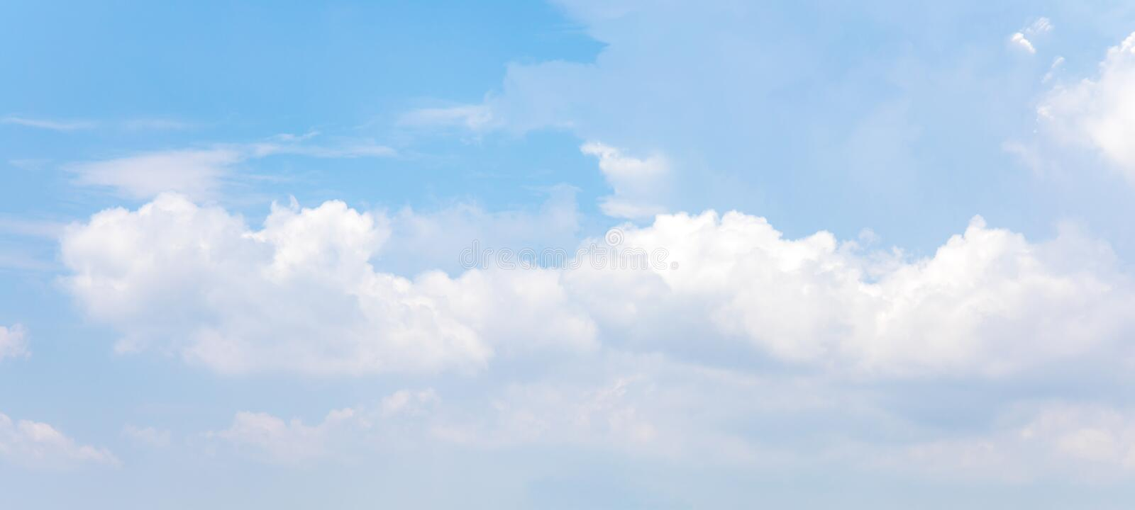 Panorama or panoramic photo of blue sky and white clouds or cloudscape. stock images