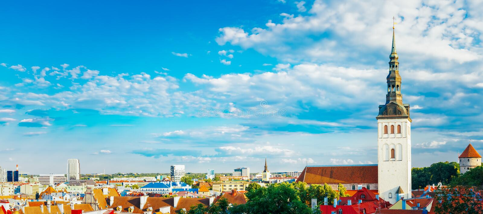 Panorama Panoramic Scenic View Landscape Old City Town Tallinn I stock photography