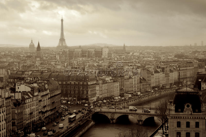 Panorama Paris from above in France sepia photo royalty free stock photography