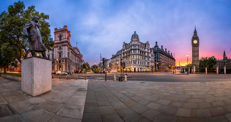 Panorama of Parliament Square and Queen Elizabeth Tower in London, United Kingdom stock photo