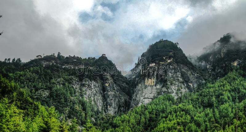 Panorama Paro valley Taktsang lakhang aka tigress nest monastery Bhutan royalty free stock images