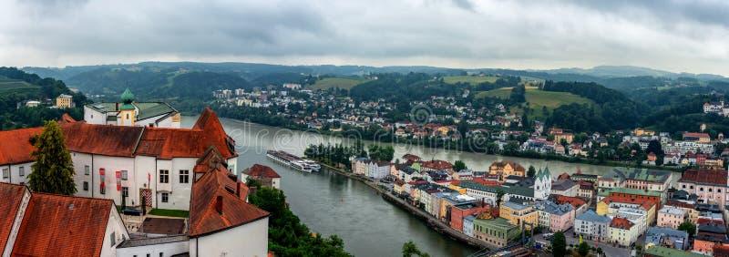 Panorama of Passau, Bavaria, Germany. Danube, travel royalty free stock image