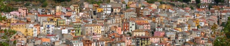 Panorama, Pastel houses on hillside, stock photo