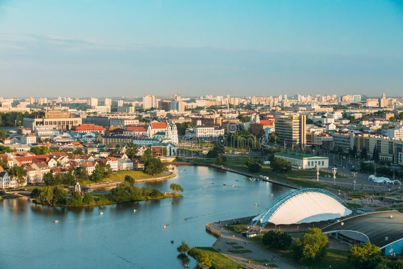 Panorama, paysage urbain de Minsk, Belarus Été photo stock