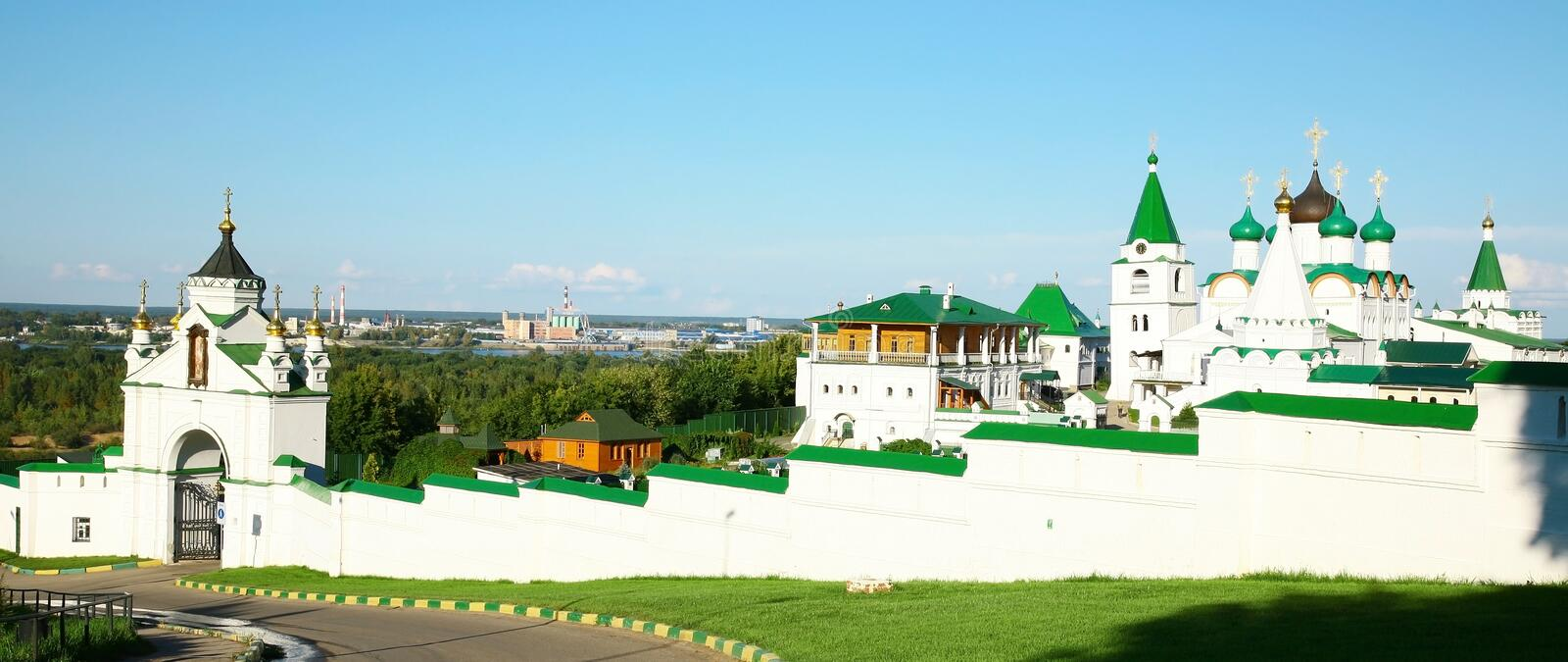 Panorama Pechersky Ascension Monastery Nizhny Novgorod Royalty Free Stock Photo
