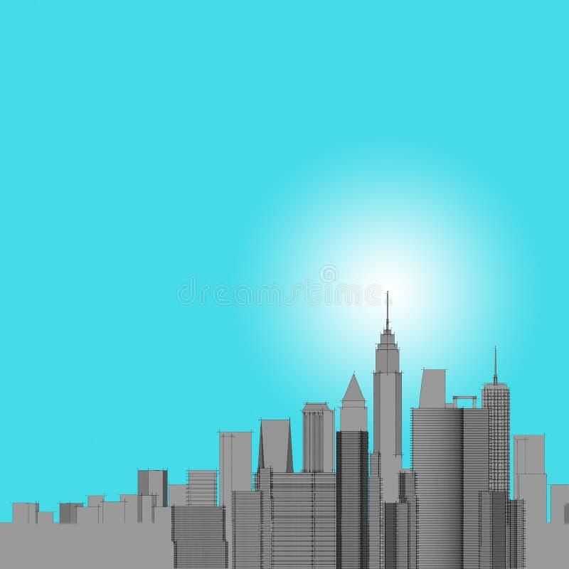 Panorama pejza?u miejskiego nakre?lenie Architektury nakre?lenie - 3D ilustracja ilustracja wektor