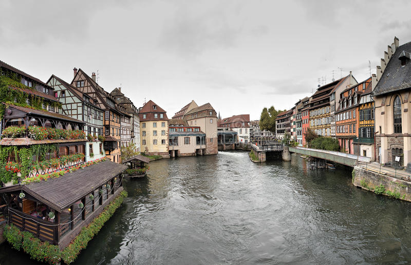 Panorama in The Petite France area in Strasbourg royalty free stock photos
