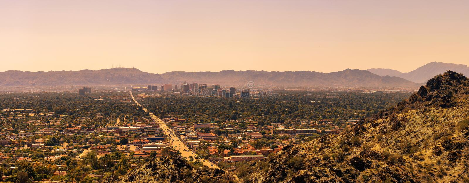 Panorama of Phoenix downtown stock photo