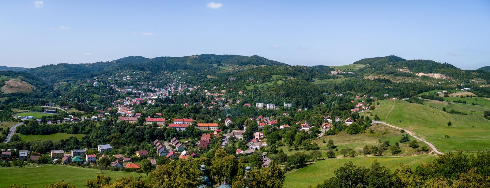 Panorama photo of Banska Stiavnica, Slovakia stock photos
