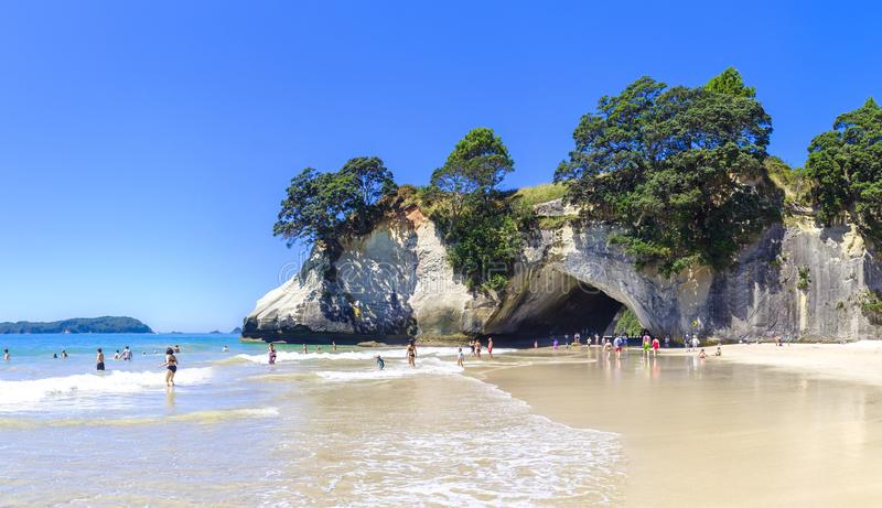 Cathedral Cove in New Zealand stock photo